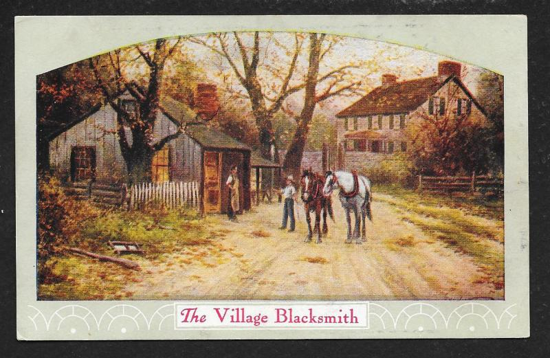 'Village Blacksmith' Men & Horses Rural Scene Used c1909