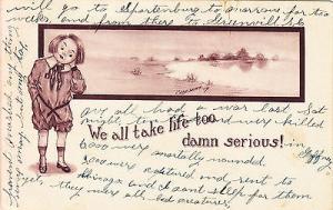 We All Take Life Too Serious Comic Postcard