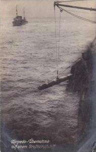 German Warship Torpedo Being Loaded Real Photo
