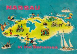 NASSAU, Bahamas; Map of points of interest, Sailing, For Sun & Fun, 50-70s