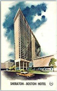Boston, Mass. Postcard SHERATON-BOSTON HOTEL Artist's View c1960s Unused