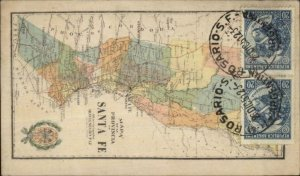Santa Fe Province Brazil MAP Used Postcard