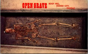 Boot Hill Dodge City KS Open Grave skeleton unknown early day settler tomb