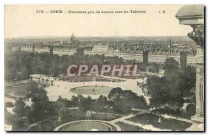 Old Postcard Paris Panorama taken from the Louvre to the Tuileries