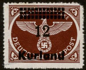 Germany Kurland Overprinted Deutsche Feldpost Stamp Mi 4B 59605