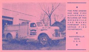 Waynesville Ohio Township Fire Dept Engine Antique Postcard K102759