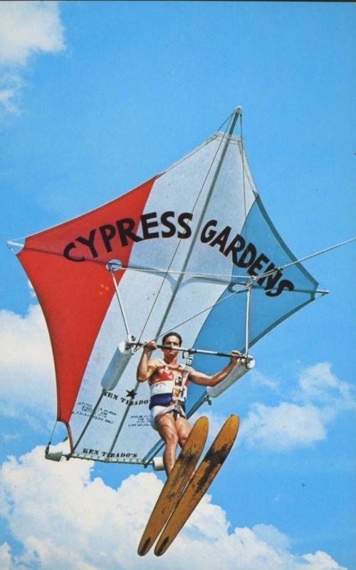 Cypress Gardens FL Florida Flying Kite Man Vintage Postcard D2