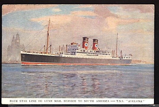 TSS Avelona Blue Star Line Mail Service to South America