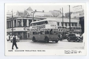 pp2281 - Glasgow Trolley Bus TG10 (101) at Bus Station - Pamlin postcard