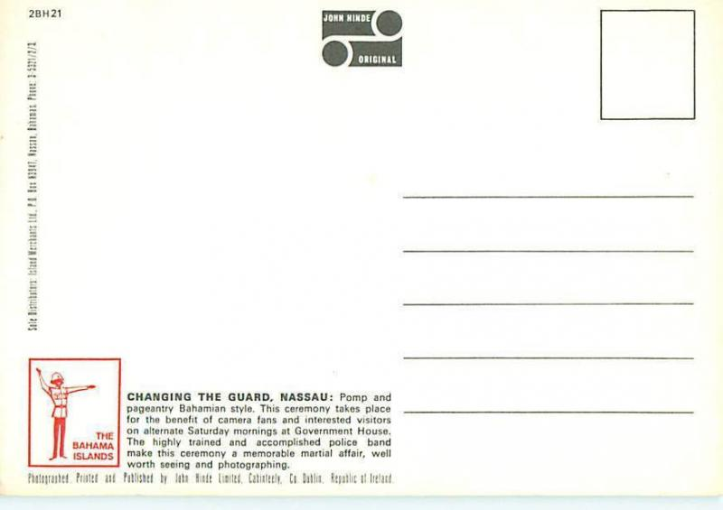 Nassau Bahamas Changing of the Guard Marching Band Drummers  Postcard  # 8706