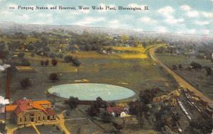 Bloomington IL Pumping Station, Water Works Plant @ Reservoir c1910 Postcard