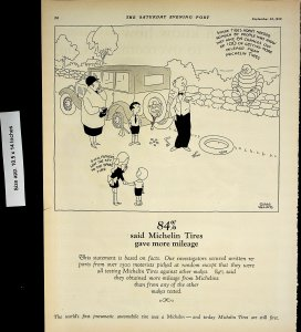 1926 Michelin Tires Comic Page Tire Man Vintage Print Ad 4456