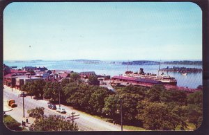 P1493 vintage unused postcard birds eye view yarmouth harbour nova scotia canada
