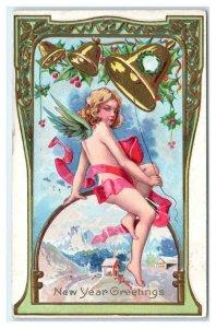 NEW YEAR GREETINGS ~ Bells & ANGEL 1910 Embossed Art Nouveau Border Postcard