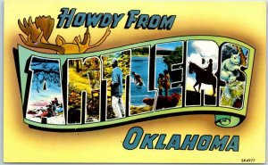 Vintage HOWDY from ANTLERS Oklahoma Large Letter Postcard 1950s Chrome Unused