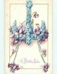 Divided-Back art nouveau SHIP ANCHOR MADE OF FORGET-ME-NOT FLOWERS r4270