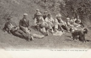 Noonday Rest , Sussex , England , 1900-10s ; People & dog