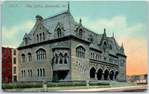 Evansville, Indiana Postcard U.S. Post Office Building View c1910s Acmegraph