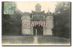 Postcard Old Aubigne Sarthe Monumental Gate of Chateau Bose