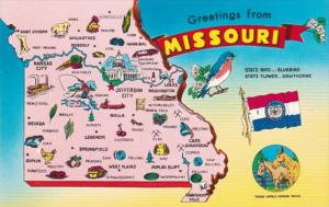 Missouri Greetings With Map State Bird and State Flower