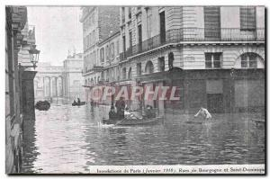 Old Postcard Paris Floods January 1910 Rue de Bourgogne and Saint Dominic