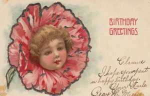 BIRTHDAY Greetings, 1901-07; Pink flower with child head middle, glitter detail