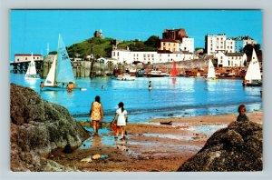 Tenby UK United Kingdom, Harbour Sands, Castle Hill, Chrome Postcard