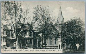 MONTICELLO SULLIVAN COUNTY NY METHODIST CHURCH 1912 ANTIQUE POSTCARD