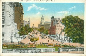 Pennsylvania Avenue FromTreasury Steps Washington DC 1929 Postcard, Trolley Cars