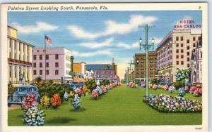 PENSACOLA, Florida FL   PALAFOX STREET Scene  Hotel San Carlos c1940s  Postcard