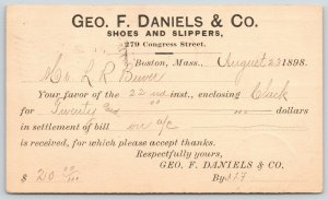 Boston Massachusetts~Geo F Daniels & Co~Shoes & Slippers~LR Bewer~1898 Postal