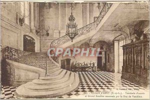 Old Postcard Chateau d'Anet E and L Hall of entr�e and gran staircase built...