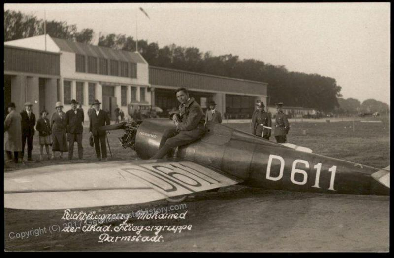 Germany Post-WWI pre-1945 Mohamed Airplane Darmstadt RPPC 66712