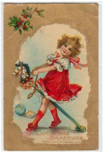 Christmas - Girl on a Stick Horse