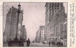 Newspaper Row, San Francisco, After the Earthquake & Fire, 1906 Postcard, Used