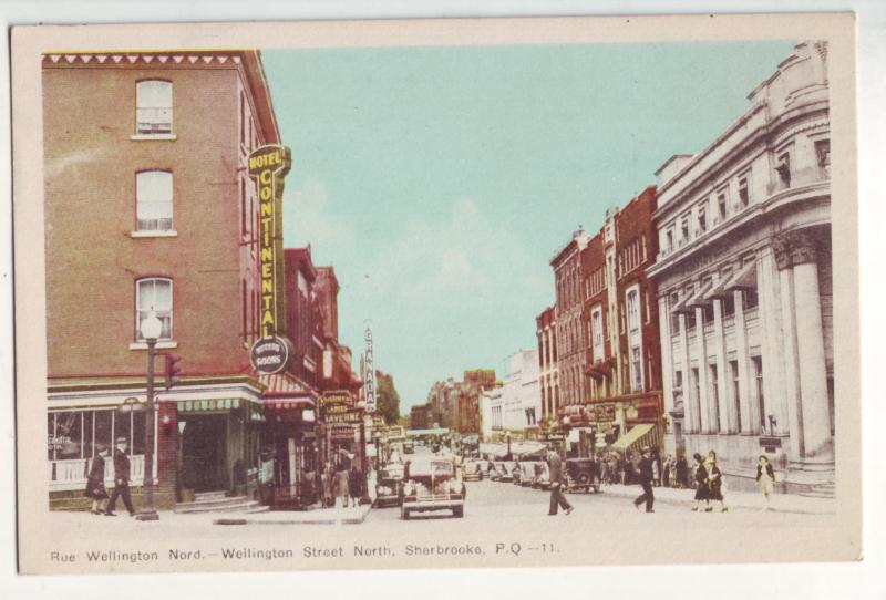 P794 old card cars signs wellington street scene sherbrooke quebec