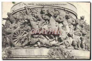 Postcard Old Troyes Low Relief From Monument Kids From & # 39Aube