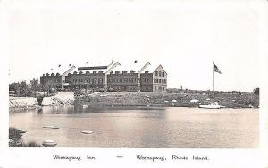 Weekapaug RI Weekapaug Inn Auto Cars View Flag RPPC Postcard