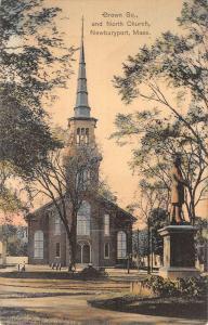 Newburyport Massachusetts North Church Street View Antique Postcard K43972