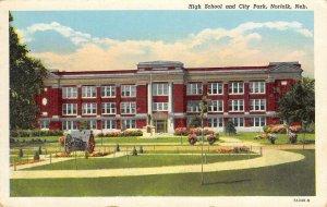 High School & City Park, Norfolk, Nebraska ca 1940s Vintage Postcard