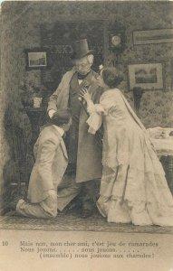 Postcard man suit hat  woman theatre dress
