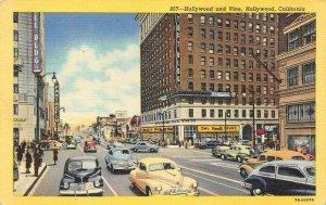 Hollywood & Vine HOLLYWOOD, CA Street Scene Pantages c1940s Vintage Postcard