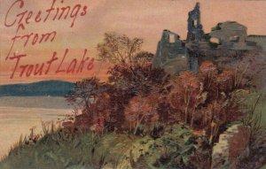 TROUT LAKE , Michigan , 1909 ; Greetings ; PFB 7806
