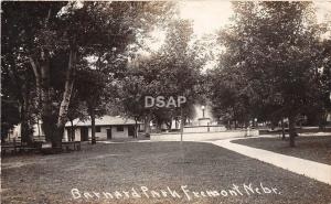 C82/ Fremont Nebraska Ne Real Photo RPPC Postcard c1910 Barnard Park Fountain
