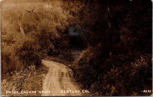 Casitas Grade road Ventura CA c1910 RPPC vtg postcard