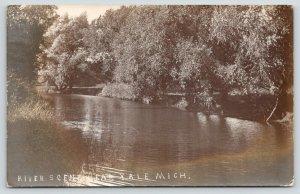 Yale MI~Waters Nr Flood Stage on Shady Mill Creek~Nice Swimming Hole 1911 RPPC