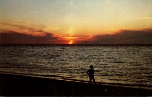 Fishing Scene At Sunset Cape Cod Massachusetts