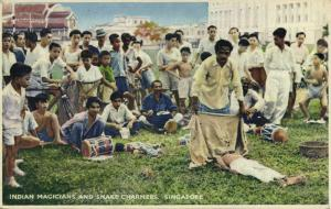 singapore, Indian Magicians and Snake Charmers (1930s) Postcard