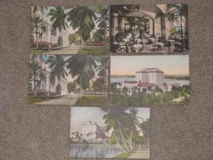 Whitehall-Palm Beach Florida-5 Different Hand colored Postcards