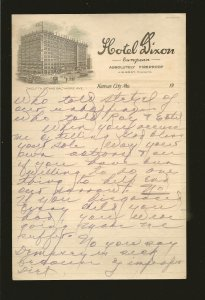 Hotel Dixon Kansas City Mo 1920's Vignetted Hotel Stationary Used 9x6 Inches